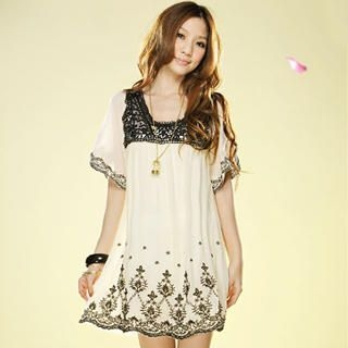 Buy Tokyo Fashion Bell-Sleeve Embroidered Chiffon Dress 1022937353