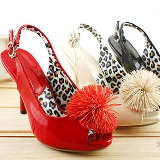 Picture of KAWO Pompom-Accent Patent Slingbacks 1022773051 (Other Shoes, KAWO Shoes, China Shoes, Womens Shoes, Other Womens Shoes)