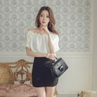 Off-Shoulder Short-Sleeve Mini Dress 1596