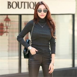 Turtle-Neck Slim-Fit Ribbed Top 1063470889