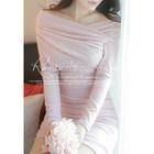 Off-Shoulder Shirred Mini Bodycon Dress 1596