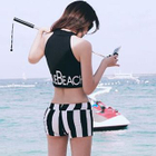 Set: Contrast Sleeveless Letter Tankini + Pinstriped Swim Bottom 1596