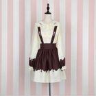 Ruffle Trim Embroidered Long-Sleeve Shirt / Suspender Skirt / Ribbon 1596