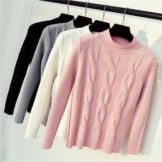 Ribbed Long-Sleeve Knit Sweater 1062132264