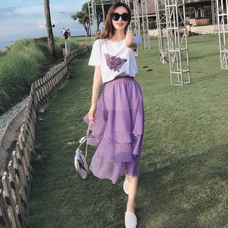 Image of Layered Midi Skirt / Short Sleeve T-Shirt / Set