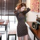 Puff-Sleeve Lace Mini Sheath Dress 1596