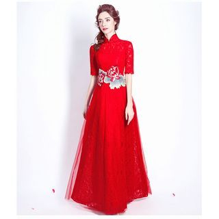 Image of Embroidered Lace Evening Gown
