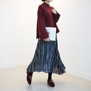 Band-Waist Crinkled Long Skirt 1053892921