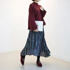 Band-Waist Crinkled Long Skirt 1596