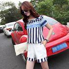 Set: Short-Sleeve Striped Top + Shorts 1596