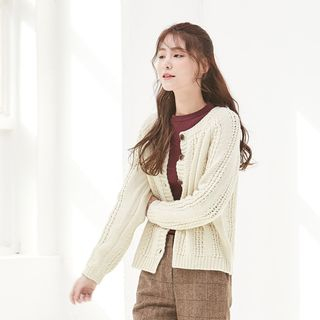 Round-Neck Chunky-Knit Cardigan 1063668097