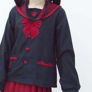 Image of Set: Long-Sleeve Sailor Collar Top + Pleated Mini Skirt + Bow Tie