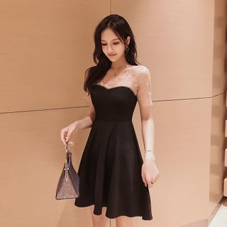 Image of Beaded Mesh Panel Short-Sleeve Mini A-Line Dress