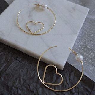 Earring   Pearl   Heart   Hoop   Open   Faux