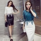 Set: Elbow-Sleeve Lace Panel Top + Fitted Skirt 1596