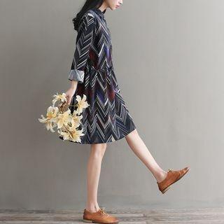 Long-Sleeve Tie-Waist Herringbone Dress 1064680427