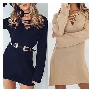 Lace Up Front Long Sleeve Knit Dress - United states