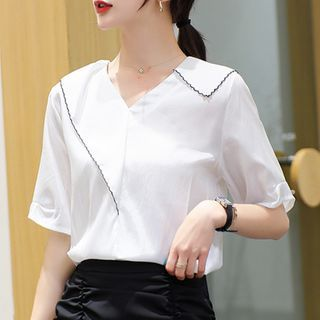 Image of Embroidered Trim Short-Sleeve Chiffon Blouse