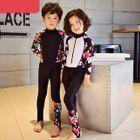 Kids Set: Floral Print Panel Rashguard + Swim Pants 1596
