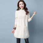 Long-Sleeve Pockets-Front Sweater Dress 1596