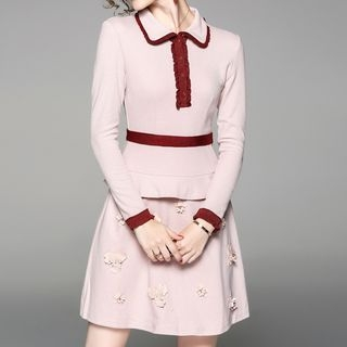 Image of Piped Long-Sleeve Collared Dress