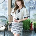 Set : Frill Sleeve Top + Skirt 1596