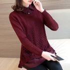 Perforated Mock Two-Piece Sweater 1596
