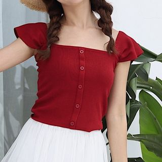 Image of Cap-Sleeve Buttoned Knit Top