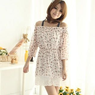 Buy CatWorld Lace-Hem Floral Print Chiffon Tunic 1022574210