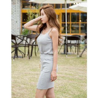 Set: Spaghetti-Strap Ribbed Top + Band-Waist Pencil Skirt 1059805994