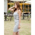 Set: Spaghetti-Strap Ribbed Top + Band-Waist Pencil Skirt 1596