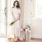 Lace Panel Short-Sleeve Maxi Chiffon Dress 1596