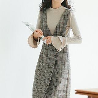 Set: Plaid Pinafore Midi Dress + Long-Sleeve Knit Top 1064656666