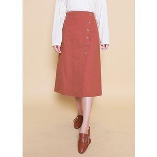 Band-Waist Wrap-Front Long Skirt 1061722155
