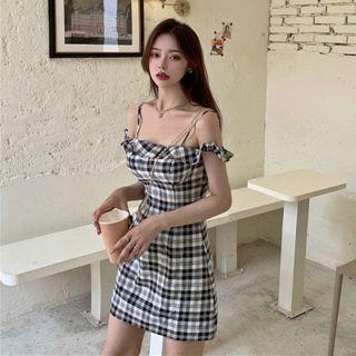 Spaghetti | Shoulder | Strap | Plaid | Dress | Mini | Top