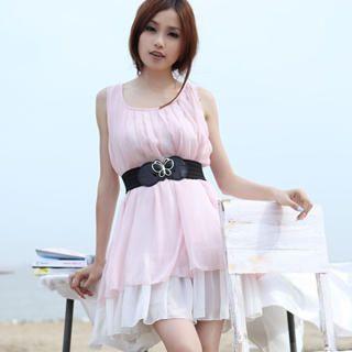 Buy 19th Street Sleeveless Layered Chiffon Pleated Dress 1023030715