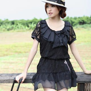 """Buy 19th Street Pleated-Neckline """"Bow"""" Lace Dress 1023030815"""