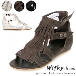 Picture of Wifky Fringed Detail Sandals 1022434511 (Sandals, Wifky Shoes, Korea Shoes, Womens Shoes, Womens Sandals)