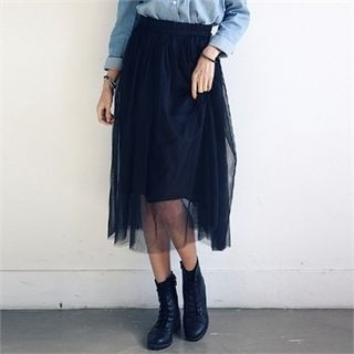Band-Waist Tulle Long Skirt 1057870763