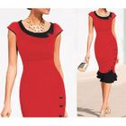 Cap-Sleeve Ruffle-Hem Sheath Dress 1596