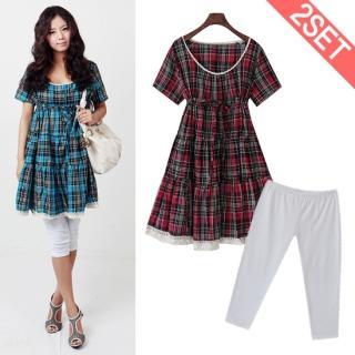 Buy Stylementor Set: Short-Sleeve Plaid Dress + Leggings 1022906972