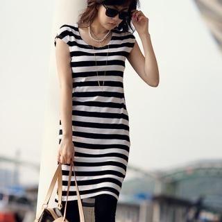 Buy pinkdiamond Short-Sleeve Stripe Dress 1022753552