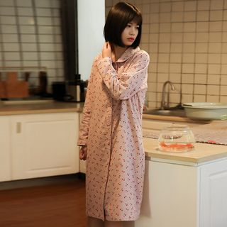 Image of Cherry Print Pajama Dress As Shown In Figure - One Size