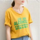 Lettering V-Neck Short-Sleeve T-Shirt 1596