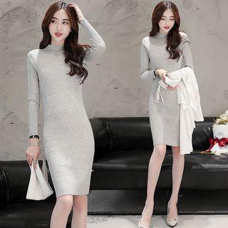 Long-Sleeve Ribbed Knit Dress 1054784971