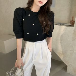 Image of Beaded Puff-Sleeve Top Black - One Size