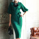 Elbow-Sleeve Sheath Midi Dress 1596