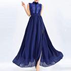 Sleeveless Lace Panel Maxi Chiffon Dress 1596