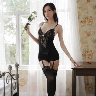 Stocking | Babydoll | Costume | Black | Lace | Size | One | Set