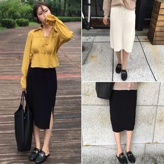 Ribbed Knit Midi Skirt 1053282992